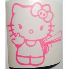 Hello Kitty with pistol giving finger